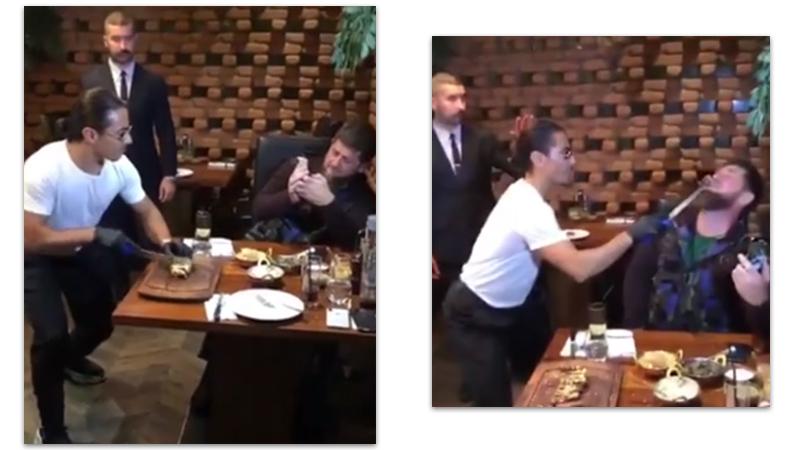 Турецкий повар-мем Salt Bae угостил своим фирменным мясом Кадырова
